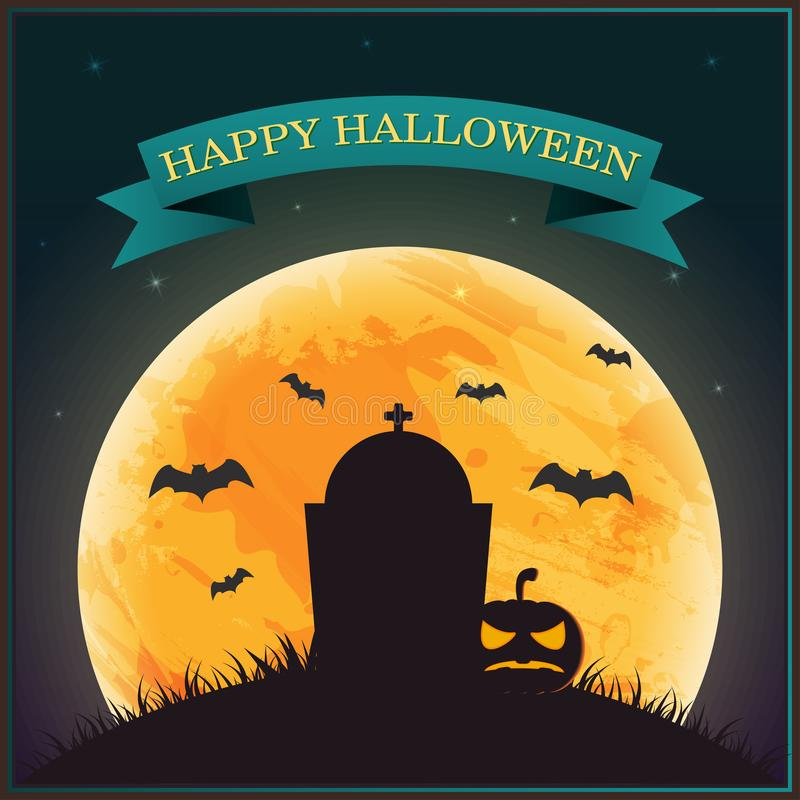 Plakatowy Halloweenowy dzień, sylwetka dyniowy lampion na trawie z ilustracja wektor