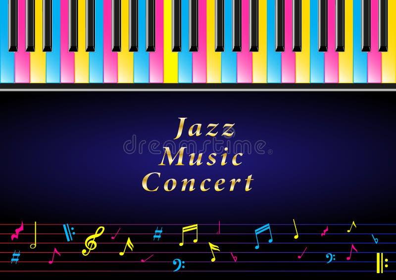 Plakatowy muzyka koncert Realistyczni barwiący pianino klucze i muzykalne notatki royalty ilustracja