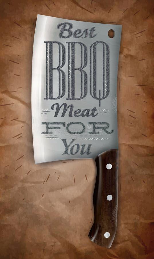 Plakatowy noża BBQ ilustracja wektor