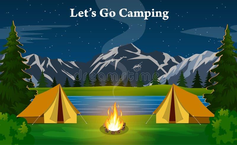 Plakatowy pokazuje campsite z ogniskiem ilustracja wektor