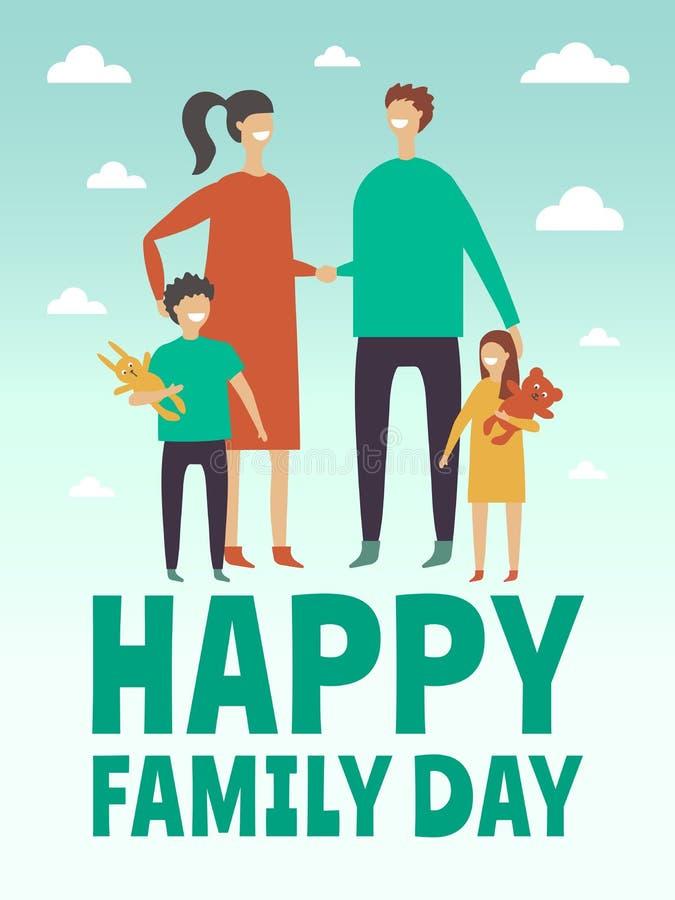 Plakatowy projekta szablon z obrazkami szczęśliwa rodzina Matka, ojciec i mali children, Stylizowani wektorowi charaktery ilustracja wektor