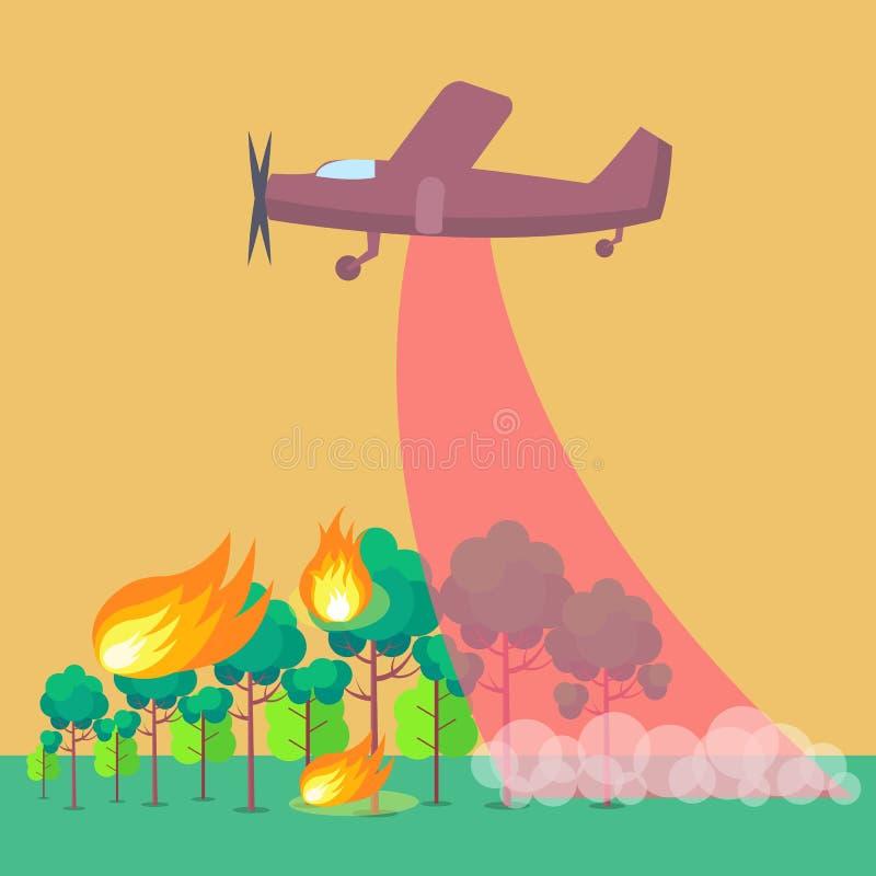 Plakatowy Przedstawia samolot Stawia Out pożar lasu ilustracji