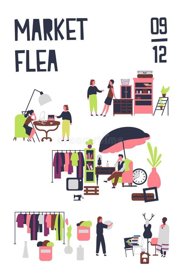 Plakatowy szablon dla pchli targ lub gałganiany jarmark z nabywcami i sprzedawcami akcesoria, roczników meblowania, eleganccy ilustracja wektor