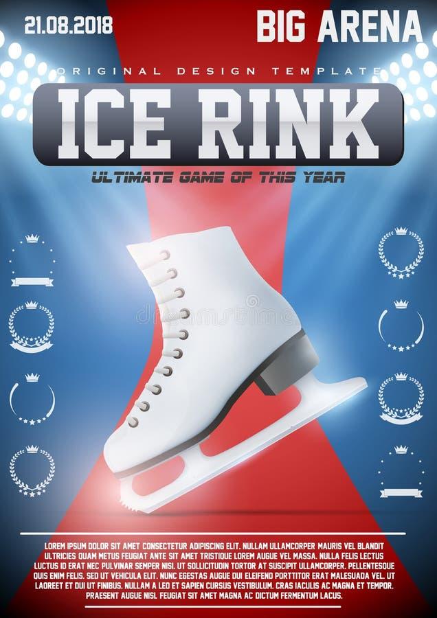 Plakatowy szablon jazda na łyżwach lodowisko royalty ilustracja