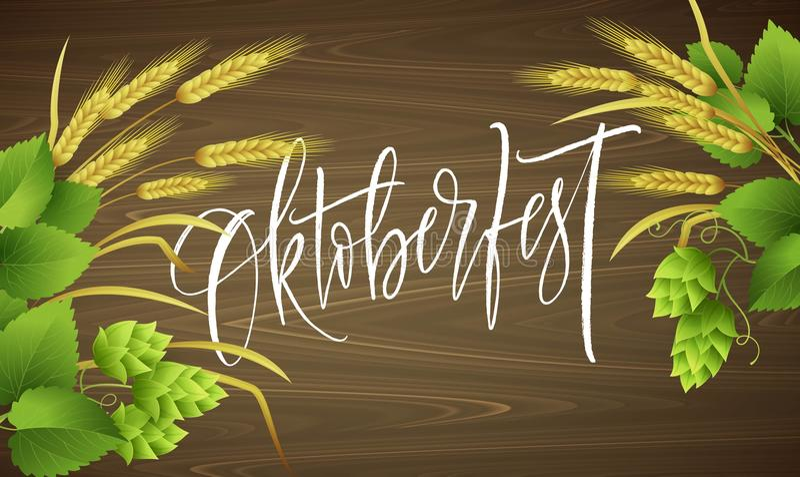 Plakatowy szablon Oktoberfest piwa przyjęcie z różnymi przedmiotami odnosić sie z piwnym festiwalu i handwriting literowaniem ilustracji