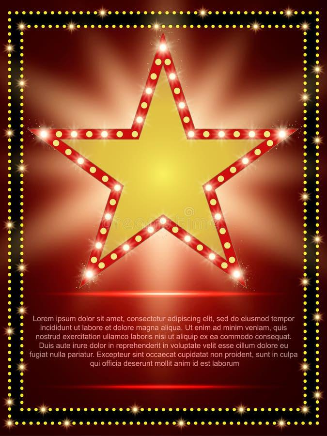 Plakatowy szablon z retro gwiazdowym sztandarem Projekt dla prezentaci ilustracja wektor