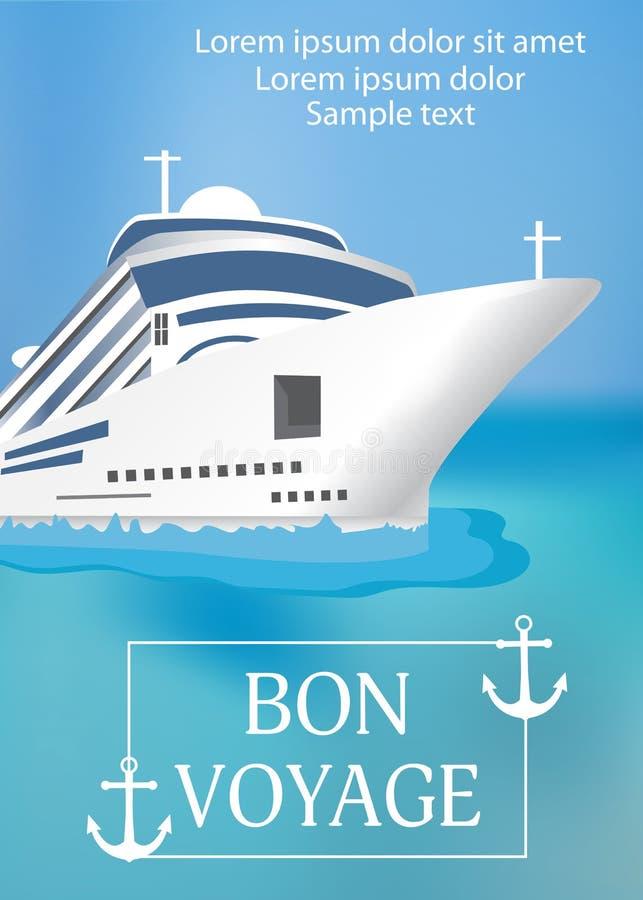 Plakatowy szablonu statek wycieczkowy z 'bonu VoyageÂ' nagłówkiem Transa ilustracji