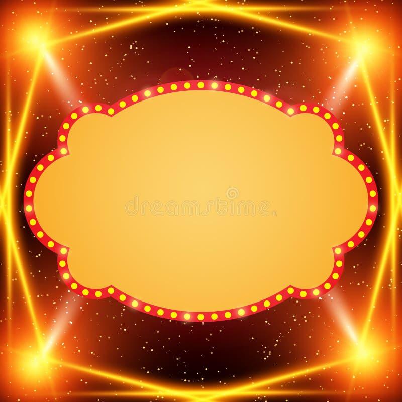 Plakatowy szablonu sztandar z światło reflektorów Projekt dla prezentaci, sztandar, koncert, przedstawienie royalty ilustracja
