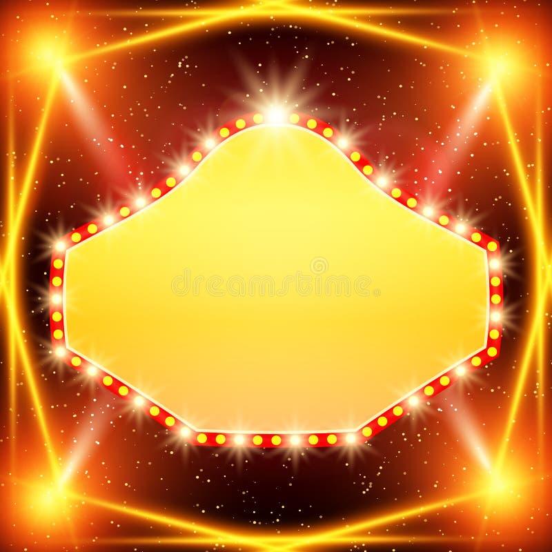 Plakatowy szablonu sztandar z światło reflektorów Projekt dla prezentaci, sztandar, koncert, przedstawienie ilustracji