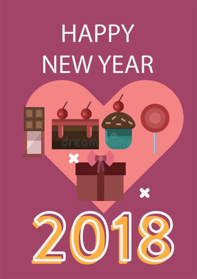 Plakatowy Szczęśliwy nowy rok ilustracji