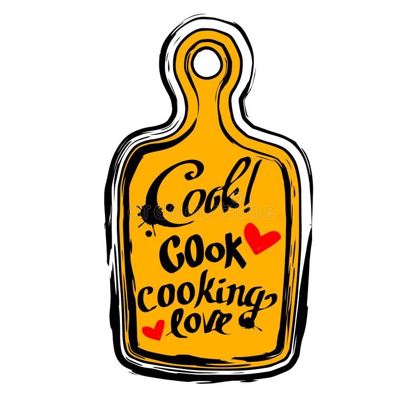 Plakatowy tnącej deski literowanie pozwala kucharza coś yummy royalty ilustracja