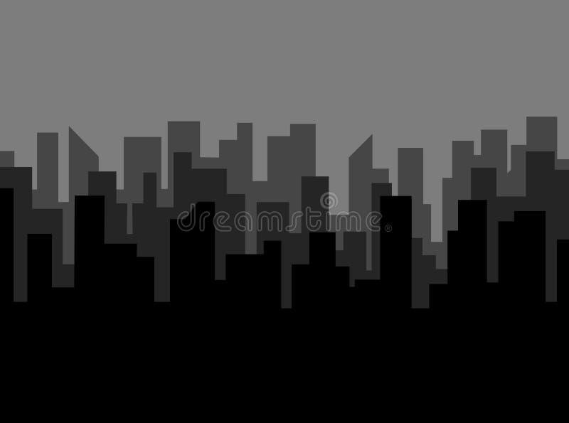 Plakatowy wektorowy szablon z ciemną miasto linią horyzontu fotografia royalty free