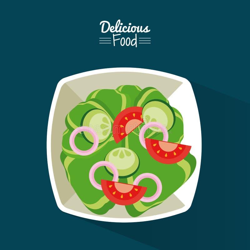 Plakatowy wyśmienicie jedzenie w błękitnym tle z naczyniem sałatka warzywa ilustracji