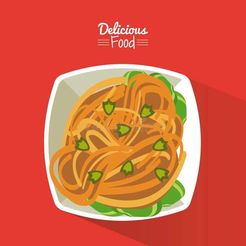 Plakatowy wyśmienicie jedzenie w czerwonym tle z naczyniem makaron z warzywami ilustracja wektor