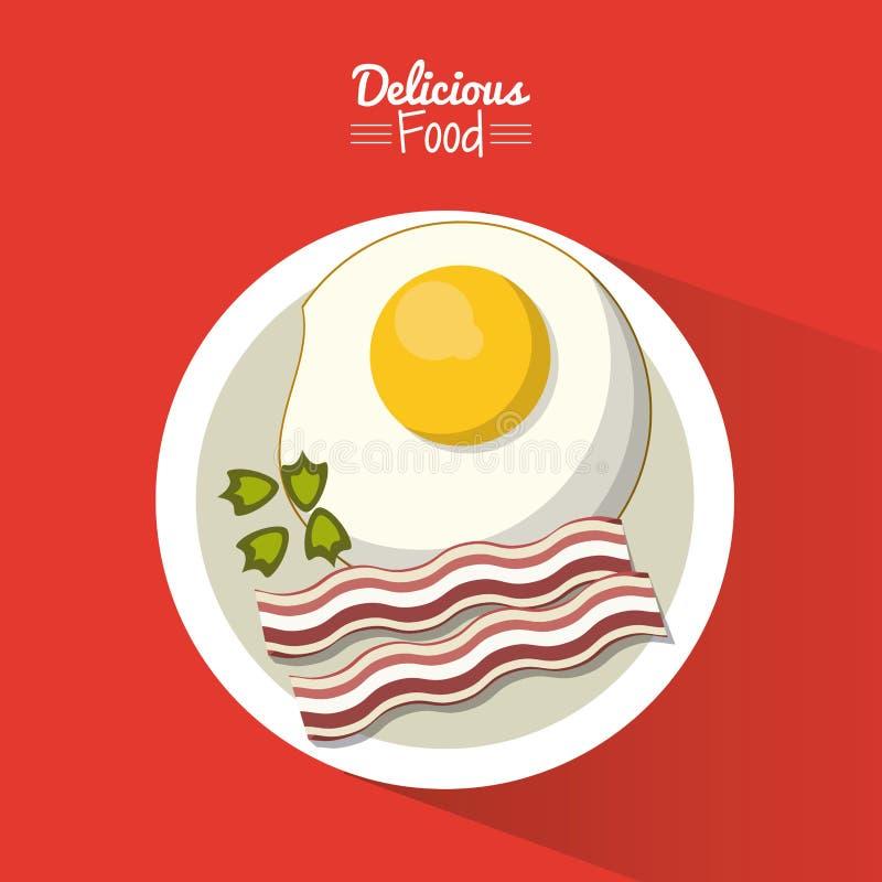 Plakatowy wyśmienicie jedzenie w czerwonym tle z naczyniem smażący jajko z bekonem ilustracja wektor