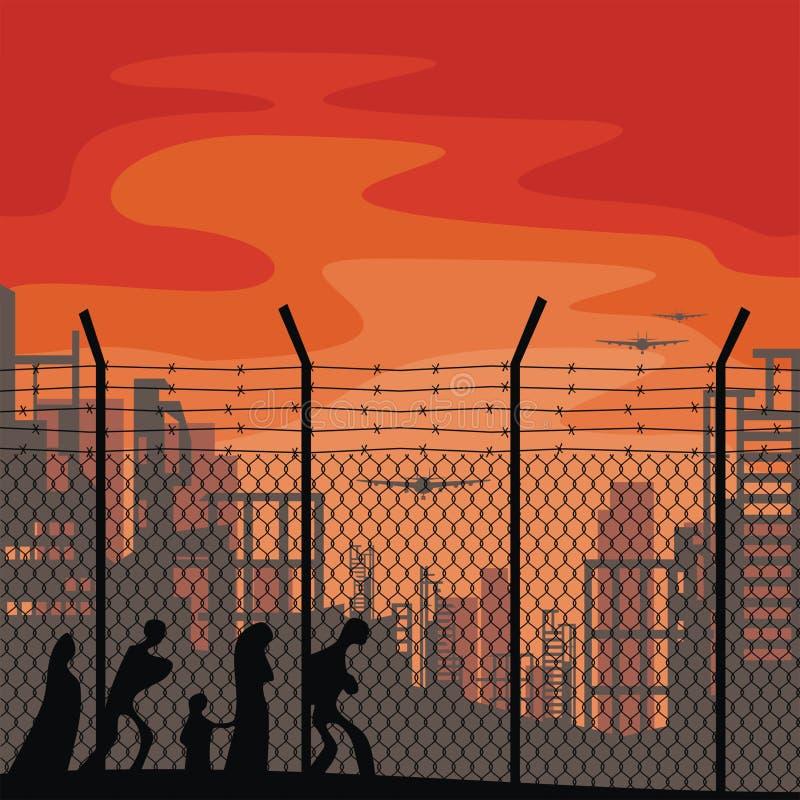 Plakatschablone über Flüchtlinge stock abbildung