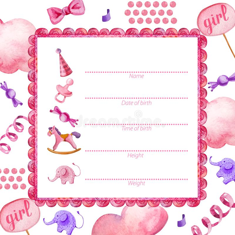 Plakatschablone für neugeborenes Baby girl_Baby Dusche stock abbildung