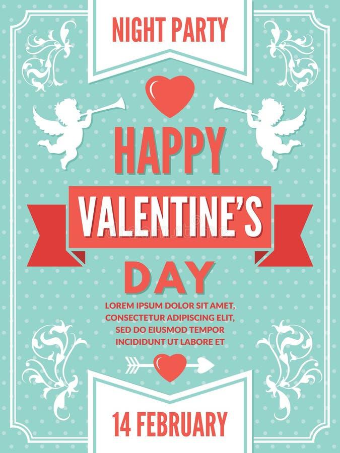 Plakatschablone für Valentinsgrußtag Hintergrundillustrationen von Liebessymbolen vektor abbildung