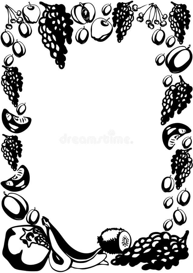 Plakatschablone mit Hand gezeichneten Fr?chten und Beeren f?r Landwirtmarktmen? entwerfen vektor abbildung