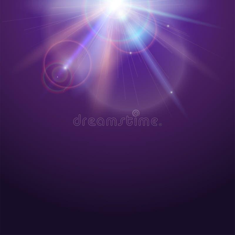 Plakatschablone mit Lichteffekt des Glühens Helles Licht von Sonnenstrahlen und Blendenfleckhintergrund mit Kopienraum Stern-Expl stock abbildung
