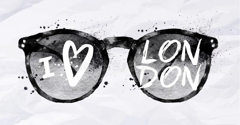 Plakatsonnenbrille London lizenzfreie abbildung