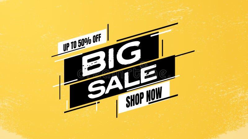 Plakatvektor-Netzschablone des großen Verkaufs kaufende fördernde Rabatte, Abkommen, Angebote und Freigabenwerbung stock abbildung