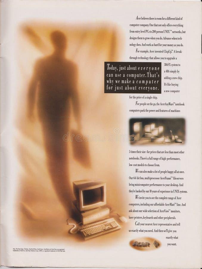 Plakatwerbung Acer-Computer, 386 486 Prozessorbaustein in der Zeitschrift ab 1992 heute gerade ungefähr jeder kann einen Computer lizenzfreie stockfotografie
