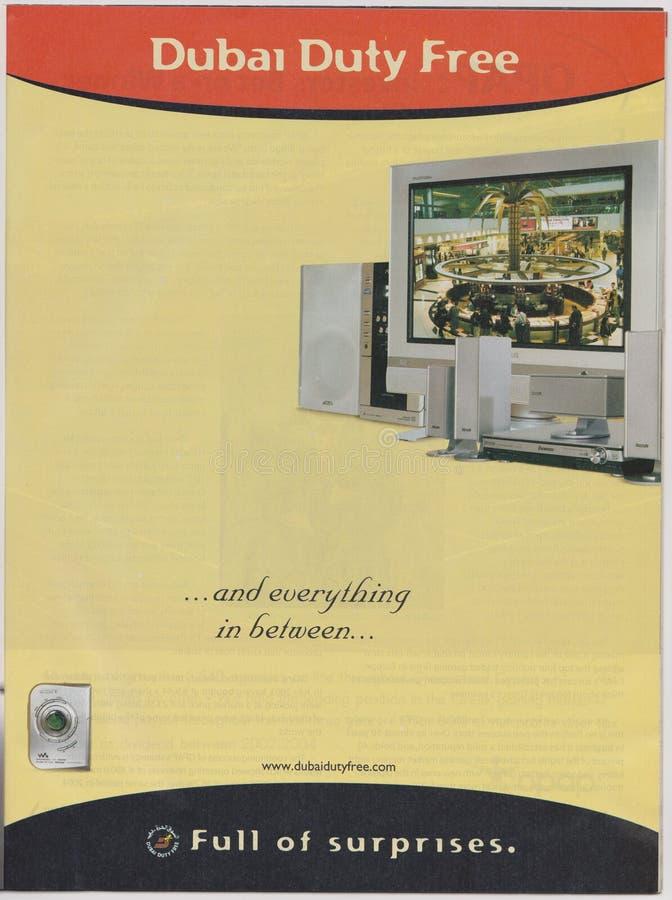 Plakatwerbung Dubai zollfrei in der Zeitschrift ab Oktober 2005, voll von den Überraschungen und alles zwischen Slogan stockfotos
