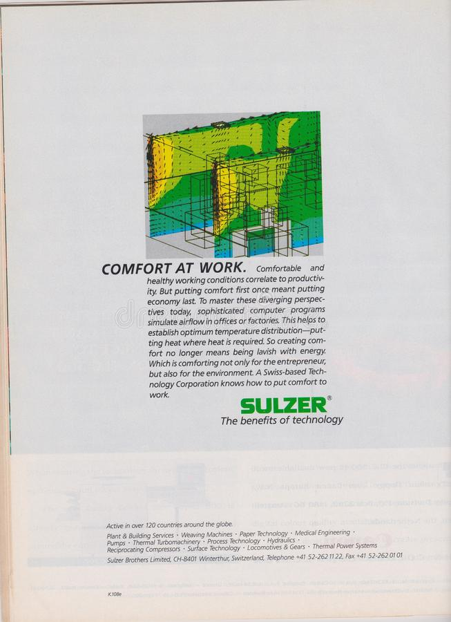 Plakatwerbung Sulzer in der Zeitschrift ab 1992, Komfort bei der Arbeit, der Nutzen des Technologieslogans lizenzfreie stockfotografie