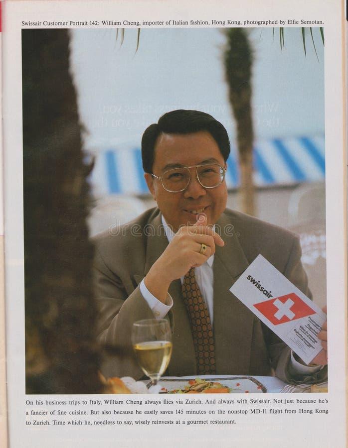 Plakatwerbung Swissair-Fluglinien in der Zeitschrift ab 1992, Kundenporträt 142 William Cheng-Slogan stockbild