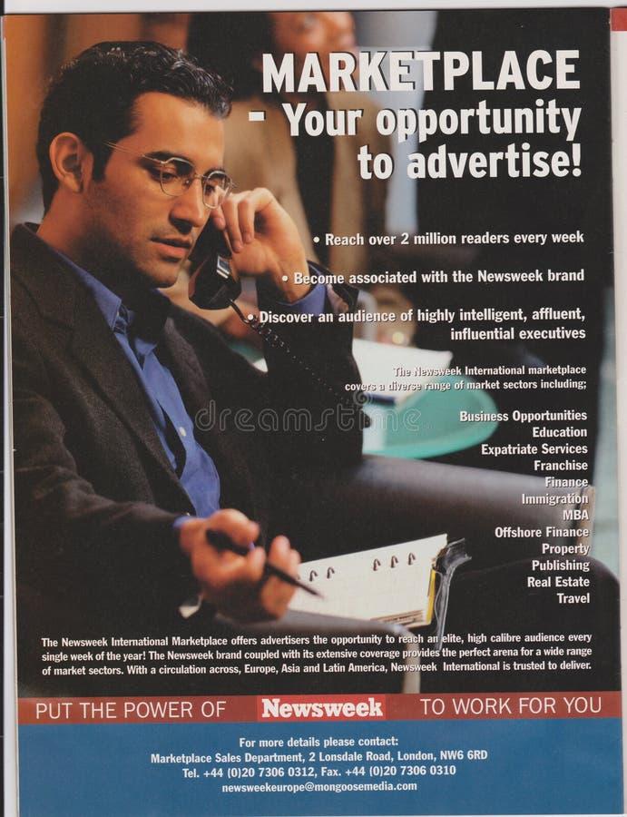 Plakatwerbung von Newsweek-Markt in der Zeitschrift ab Oktober 2005, Ihre Gelegenheit zu annoncieren! Slogan lizenzfreies stockfoto