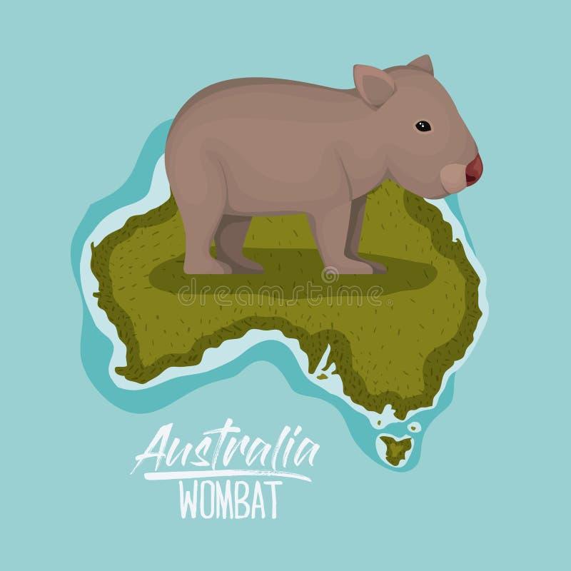 Plakatwombat in Australien-Karte im Grün umgeben durch den Ozean stock abbildung