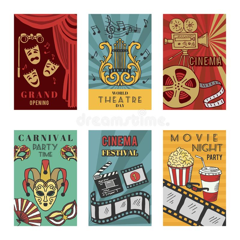 Plakaty projektują set z theatre i kina symbolami Wektorowe ilustracje odizolowywają ilustracji