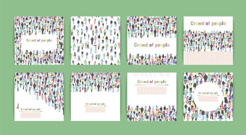 Plakaty z tłumem ludzie Set śliczna karta z grupowymi ludźmi wektor ilustracji ilustracja wektor