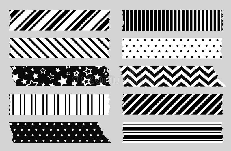 Plakband met zwart-witte geometrische patronen Het malplaatje van de Schotse, washiband stock illustratie