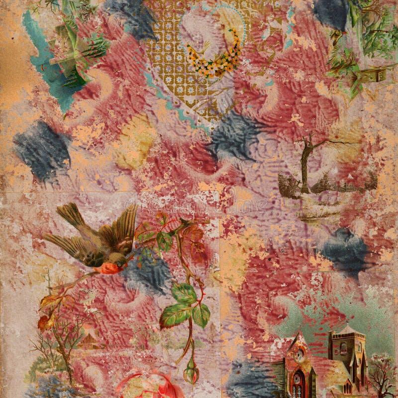Plakboek geschilderde collageAchtergrond stock illustratie