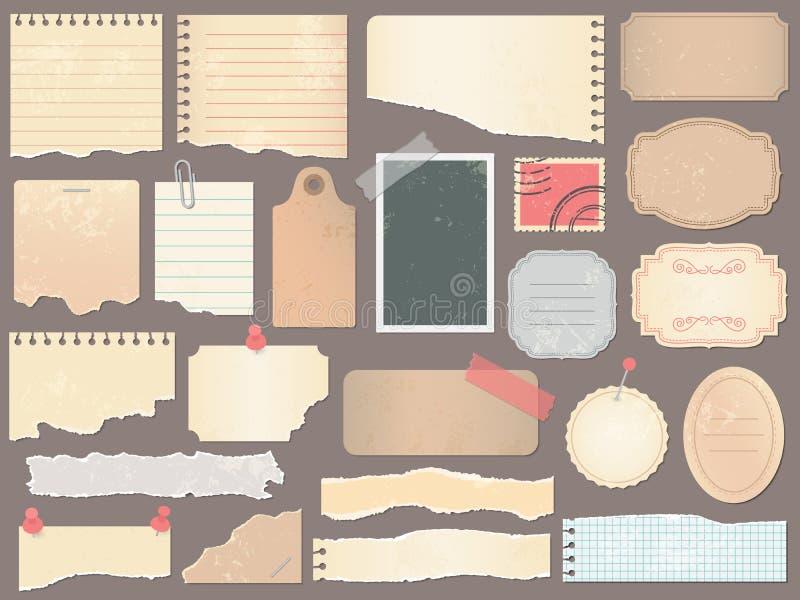 Plakboekdocumenten Uitstekend scrapbooking document, retro schrootpagina's en oude antieke albumdocumenten textuurvector stock illustratie