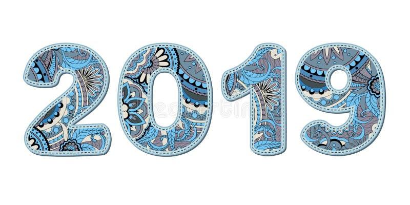 Plakboeknummer 2019 gevormd met blauwe vormen royalty-vrije illustratie