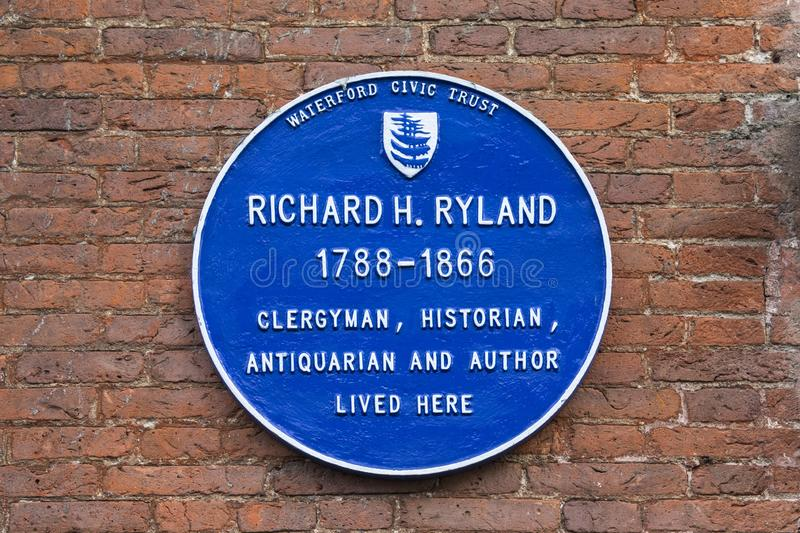 Plakette Richard H Ryland in Waterford stockfotografie
