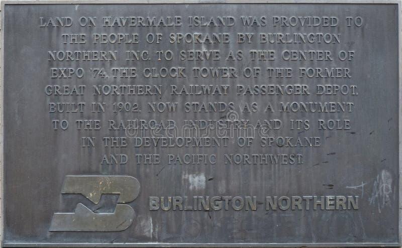 Plakieta opisuje Wielki Północny Kolejowy zegarowy wierza w Spokane obrazy stock