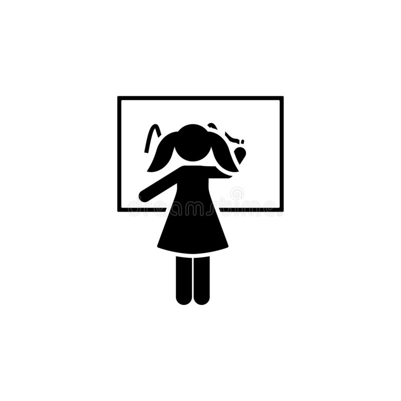 Plakieta, pisze, dziewczyna, szkolna ikona Element dziecko piktogram Premii ilo?ci graficznego projekta ikona znaki i symbole ink royalty ilustracja