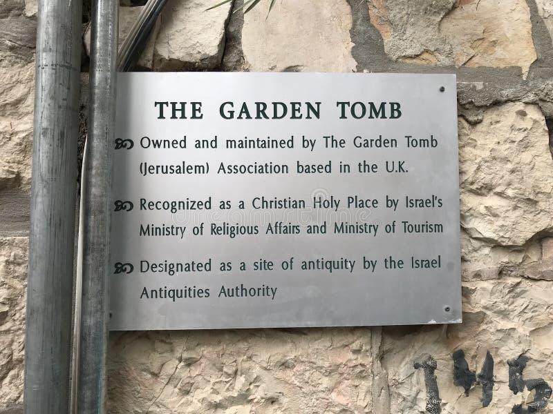 Plakieta przy Ogrodowym grobowem, miejsce Chrześcijański cześć obraz royalty free