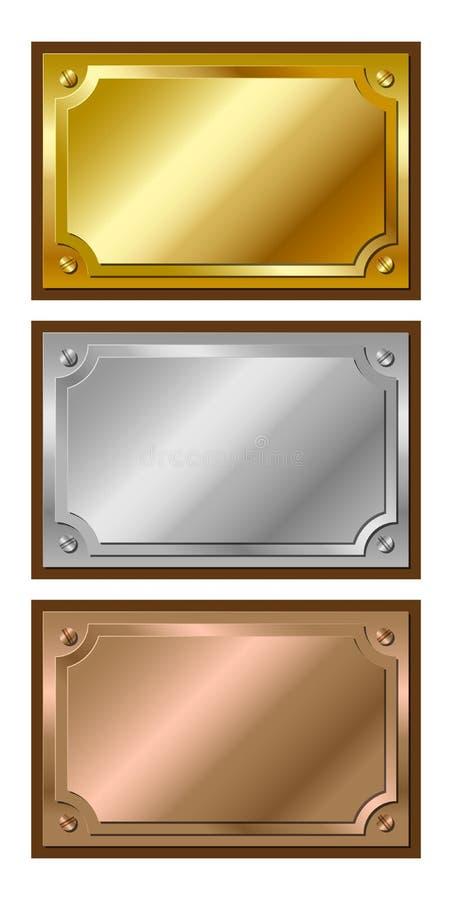 plakiety brązowy złoty srebro ilustracja wektor