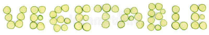 Plakken van de groenten van het komkommerswoord royalty-vrije stock foto