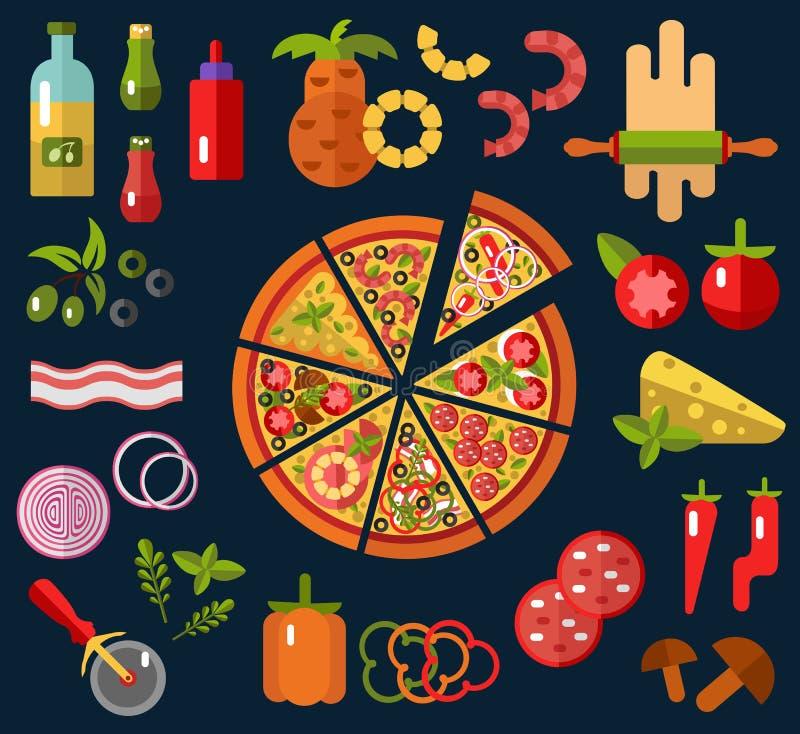 Plakken van pizza en ingrediënten vector illustratie