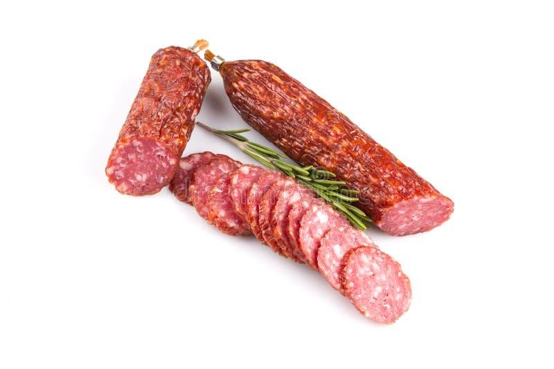 Plakken van salami stock foto