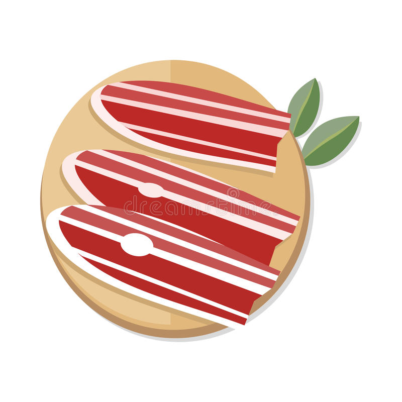 Plakken van Spaanse droog-Genezen Ham op Houten Bureau royalty-vrije illustratie