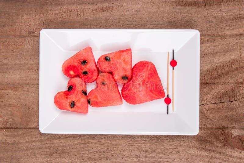 Plakken van watermeloen stock foto's