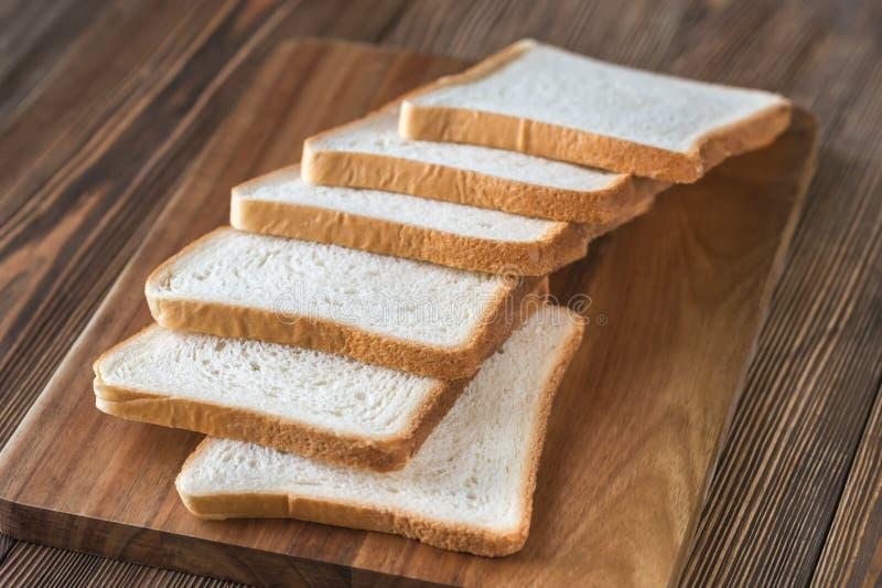 Plakken van wit brood stock fotografie