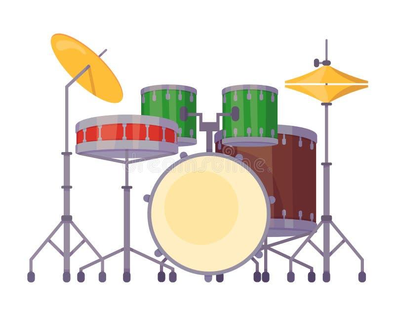 Plakt het percussie muzikale instrument, trommeluitrusting met correcte vaten, platen, stock illustratie